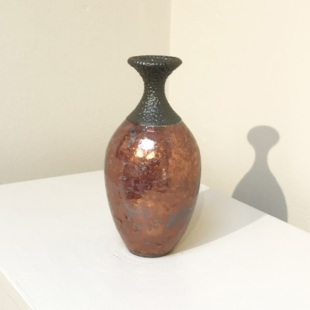Keith Menear Raku Bottle 1810-3 Luster Glaze Ceramic 15 x 7 cm