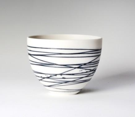 Ali Tomlin Small Cup/Bowl, Blue Lines Handbuilt porcelain vessels Glazed porcelain AT30