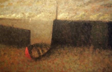 Nicholas Turner RWA Red Boat Oil on board 37 x 58 cm