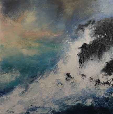 Nicola Rose Embrace - Cornwall Oil on canvas 76 x 76 cm