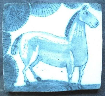 Georgina Warne Horse Cobalt mono type on stoneware panel 13 x 14.6 cm