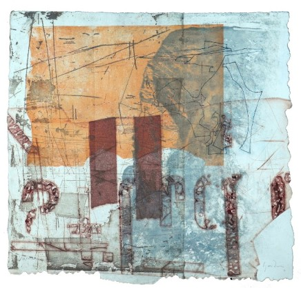 Jeremy Gardiner Porthowan Coast, Summer Monoprint 60 x 60 cm