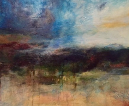 Debra Royston From The Cliff Mixed media on canvas 100 x 120 cm