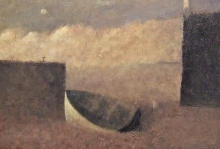 Nicholas Turner RWA Boat and Moon Oil on board 20 x 30 cm
