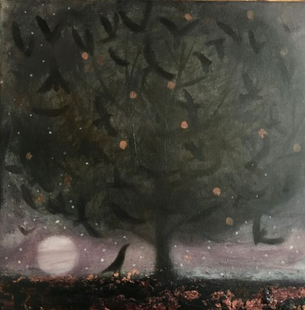 Catherine Hyde A Murder of Crows Acrylic on canvas 30 x 30cm