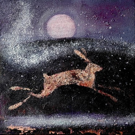 Catherine Hyde The Hare and the Moon Acrylic on canvas 30.5 x 30.5 cm