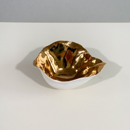 Penny Little Large Open Form White Porcelain and Gold Lustre 8 x 12 cm