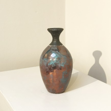 Keith Menear Raku Bottle 1810-4 Luster Glaze Ceramic 15 x 7 cm