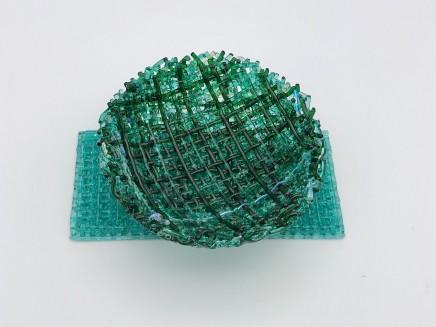 Cathryn Shilling Mini: Light Green/Emerald Green on Light Aquamarine Blue Base, 2020 Kiln formed glass with Dichroic bowl on a Kiln formed glass base Bowl: 3 x 10.5 cm Base: 6 x 13 x 0.5 cm