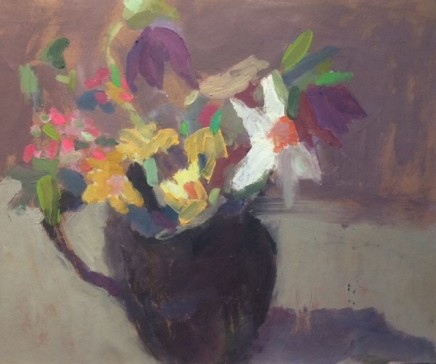 Nicholas Turner RWA Spring Flowers and Jug Oil on board 25.5 x 30.5 cm