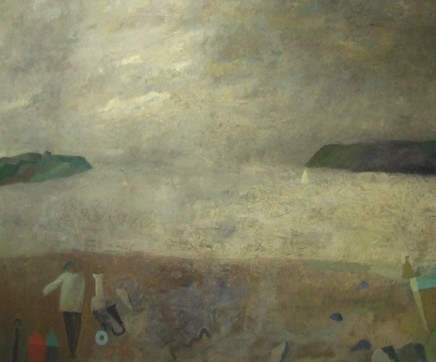 Nicholas Turner RWA Beach Figure and Sail Oil on board 66 x 81 cm