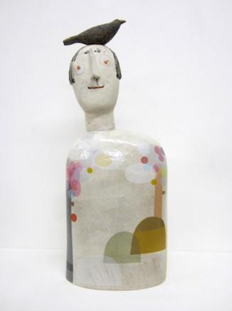 Jane Muir Bird-Head, Pink Trees Ceramic 50 x 19 x 9 cm