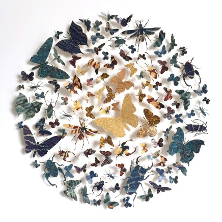 Helen Ward Paper Wings 1, 2018 Hand marbled papers, gold leaf and enamel pins 50 x 50 cm