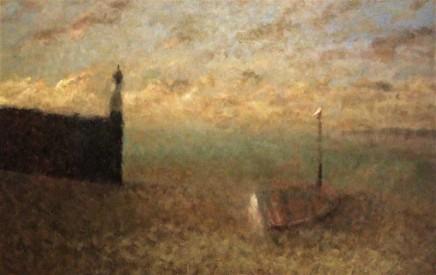 Nicholas Turner RWA Dusk Oil on board 37 x 58 cm