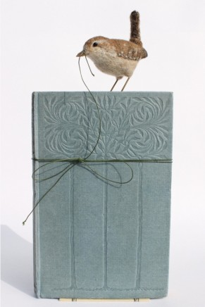 Dinny Pocock Book Bird: Wren Wool fibres and wire frame