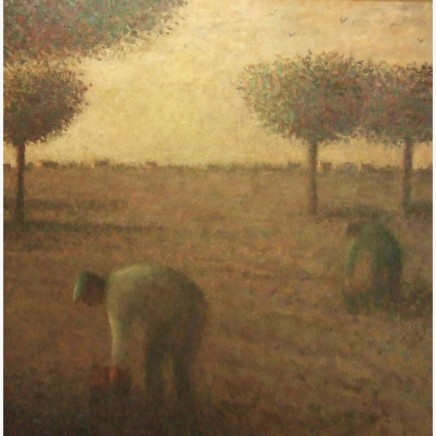 Nicholas Turner RWA Harvest Figures Oil on board 61 x 61 cm