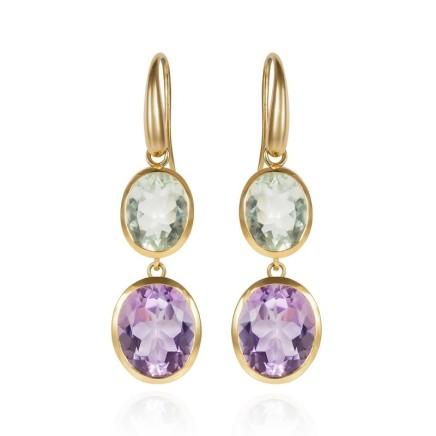 Gems Minka Indian Ocean Earrings Lilac Amethyst & Prasiolite gem stones 18kt Yellow Gold