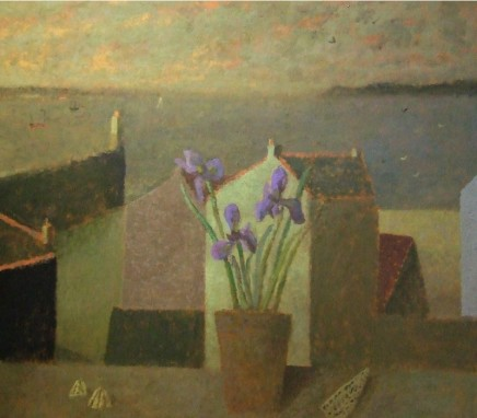 Nicholas Turner RWA Harbour with Irises Oil on board 51 x 58.5 cm