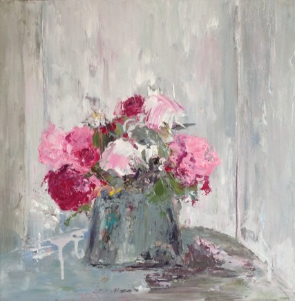 Lorraine Wake Pink on Grey Oil on canvas 40 x 40 cm