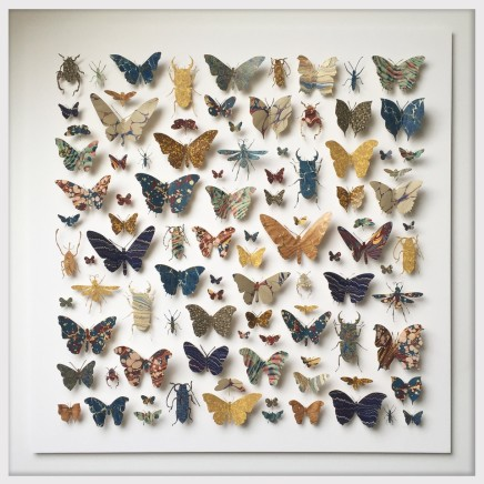 Helen Ward Morpho Square in Blue Antique bookbinding papers and enamel pins 80 x 80 cm
