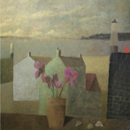 Nicholas Turner RWA Flowers and Limpits Oil on board 58.5 x 58.5 cm