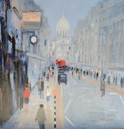 David Wheeler Fleet Street Oil on canvas 100 x 100 cm