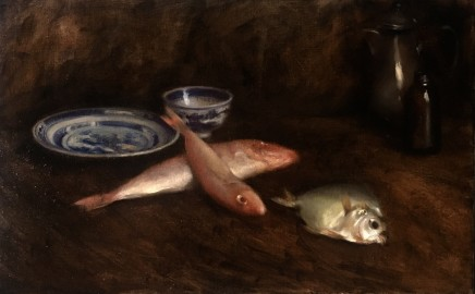 Nneka Uzoigwe Fish Supper! Oil on linen