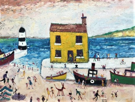 Simeon Stafford, Yellow House, Lighthouse and Boats