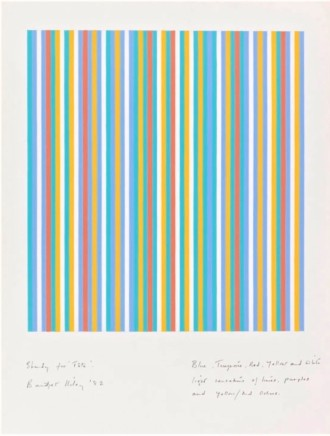 Bridget Riley, Study for Fete (Blue, Turquoise, Red, Yellow and White, Light Sensations of Limes, Purples and Yellow/Red Ochres), 1982