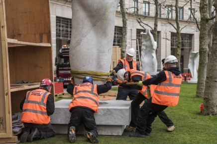 Installing the Looking Up exhibtion by Helaine Blumenfeld @ Canary Wharf
