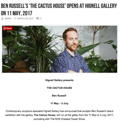 Ben Russell's 'THE CACTUS HOUSE' opens at Hignell Gallery on 11 May, 2017
