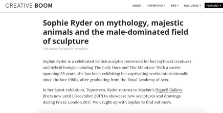 Sophie Ryder on mythology, majestic animals and the male-dominated field of sculpture