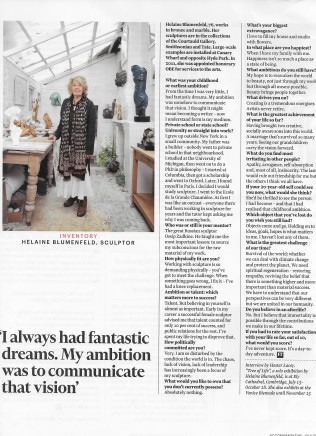 FT Weekend Magazine: Inventory with Helaine Blumenfeld, Sculptor.