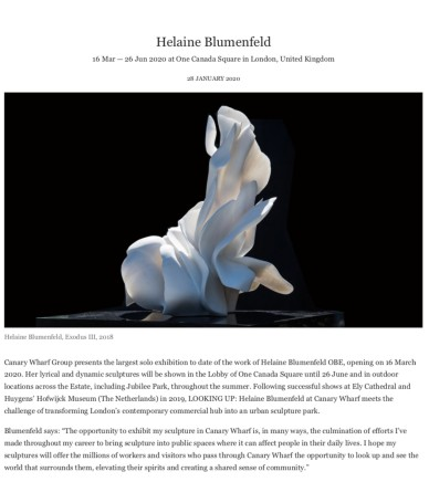 Helaine Blumenfeld 16 Mar — 26 Jun 2020 at One Canada Square in London, United Kingdom