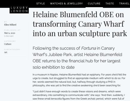 'Helaine Blumenfeld OBE on transforming Canary Wharf into an urban sculpture park'