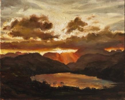Llyn Gwynant, sunset, Snowdonia