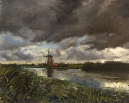 Storm over Kinderdijk, near Dordrecht, Netherlands Kinderdijk is a World Heritage Site SOLD