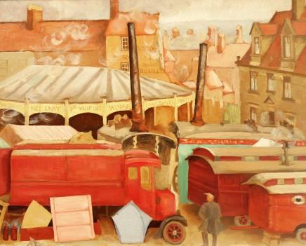 20th Century Modern British School The Days of Steam Driven Fun Fairs (1920's)