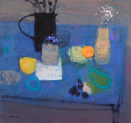 John Kingsley PAI RSW, Still Life on a Blue Table