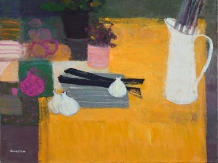 John Kingsley PAI RSW, Still Life on a Yellow Cloth