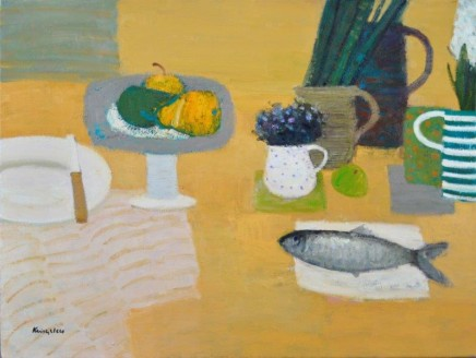 John Kingsley PAI RSW, Still Life with Fish, Fruit and Flowers