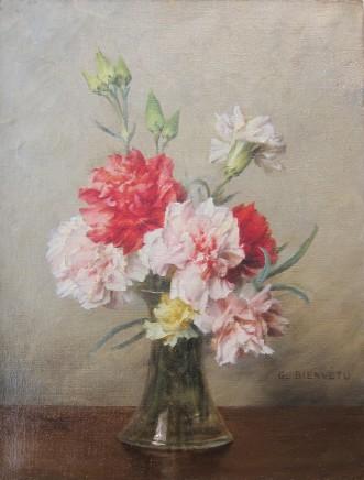 Gustave Bienvetu, Carnations in a vase