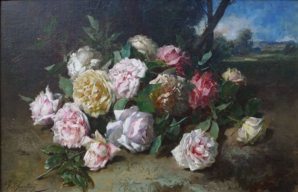 Alexandre-Jacques Chantron, Still life of roses 18 x 25.5 inches canvas size