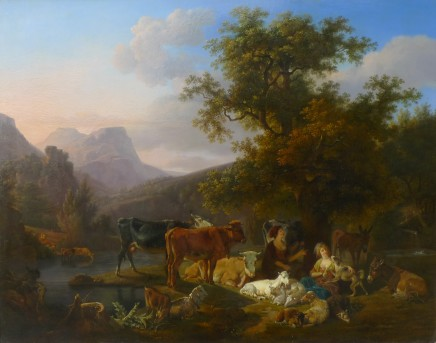Jean-Louis Demarne, Landscape with animals & figures Oil on panel, signed 20 X 25 1/2 inches canvas size