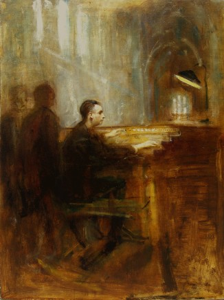 Ambrose McEvoy, Monsieur Marcel Dupre at the organ of Notre Dame in Paris, 1920