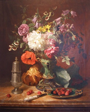 David Emile De Noter, Still life with flowers and fruit