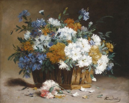 Eugene Henri Cauchois, White and blue cornflowers