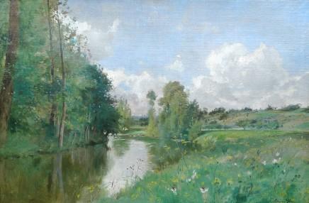Edmond Charles Joseph Yon, River landscape with yellow flowers