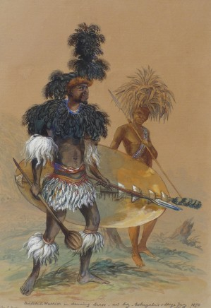 Thomas Baines, Matebele warrior in dancing dress
