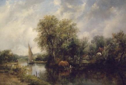 Frederick William Watts, River scene with fishing boat